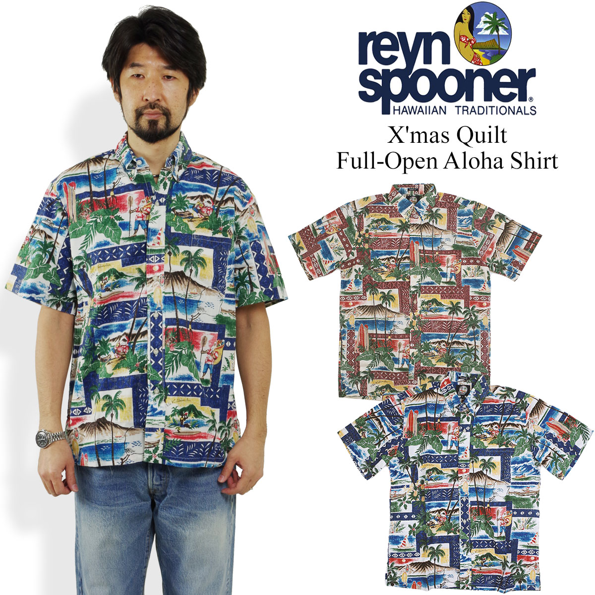 Christmas Hawaiian Shirt.レインスプーナー Reyn Spooner Short Sleeves Full Opening Hawaiian Shirt Hawaii Ann Christmas Pattern Christmas Limited On Hawaian Christmas