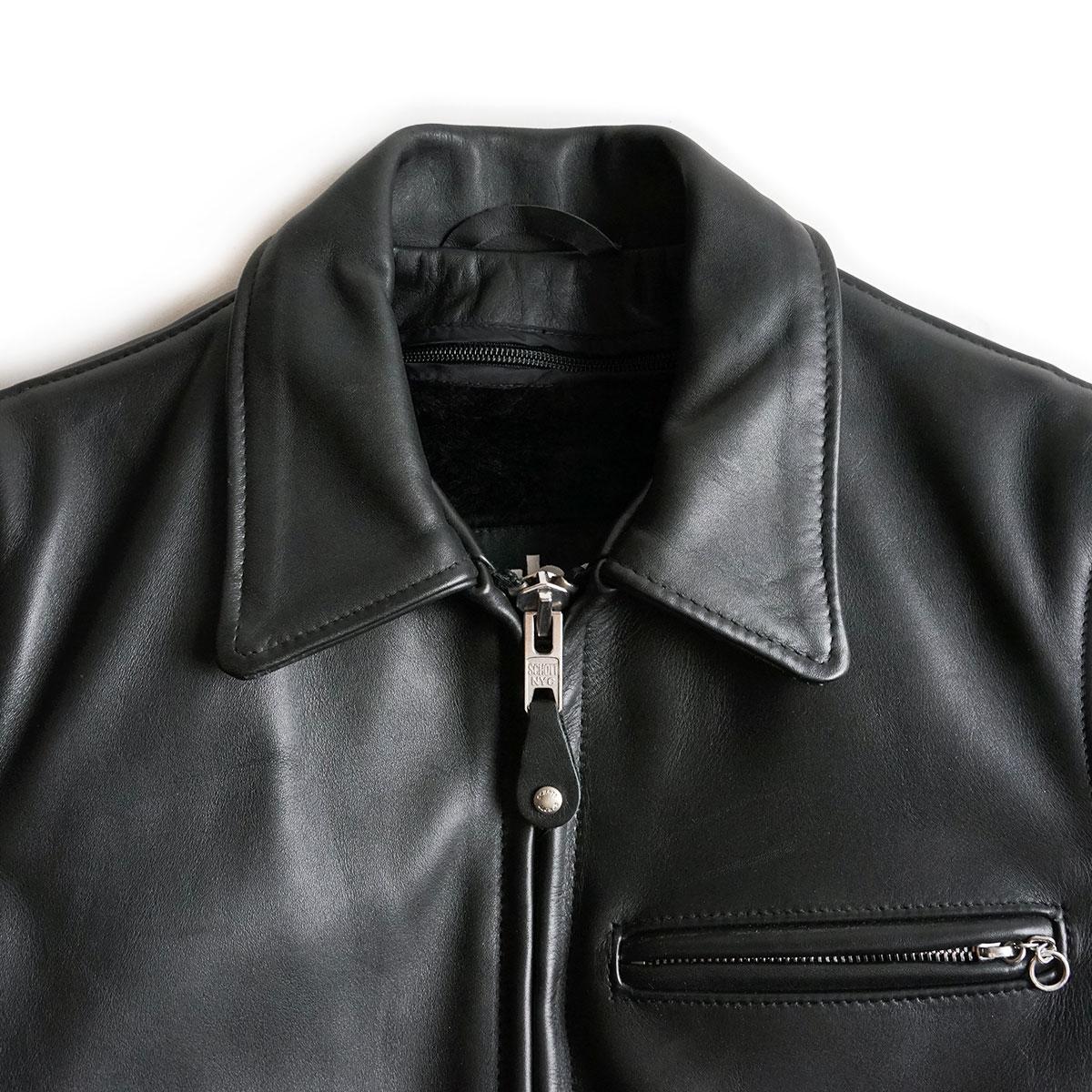 ショット SCHOTT 643 当店別注 襟付き シングルライダース ブラック(アメリカ製 米国製 レザージャケット)