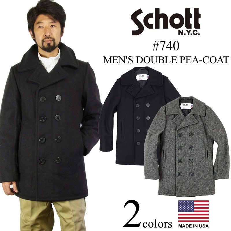 elegant and sturdy package extremely unique great discount sale Shot SCHOTT 740 men's wool double pea coat (cold protection PEA-COAT P coat  man made in the United States made in the United States)
