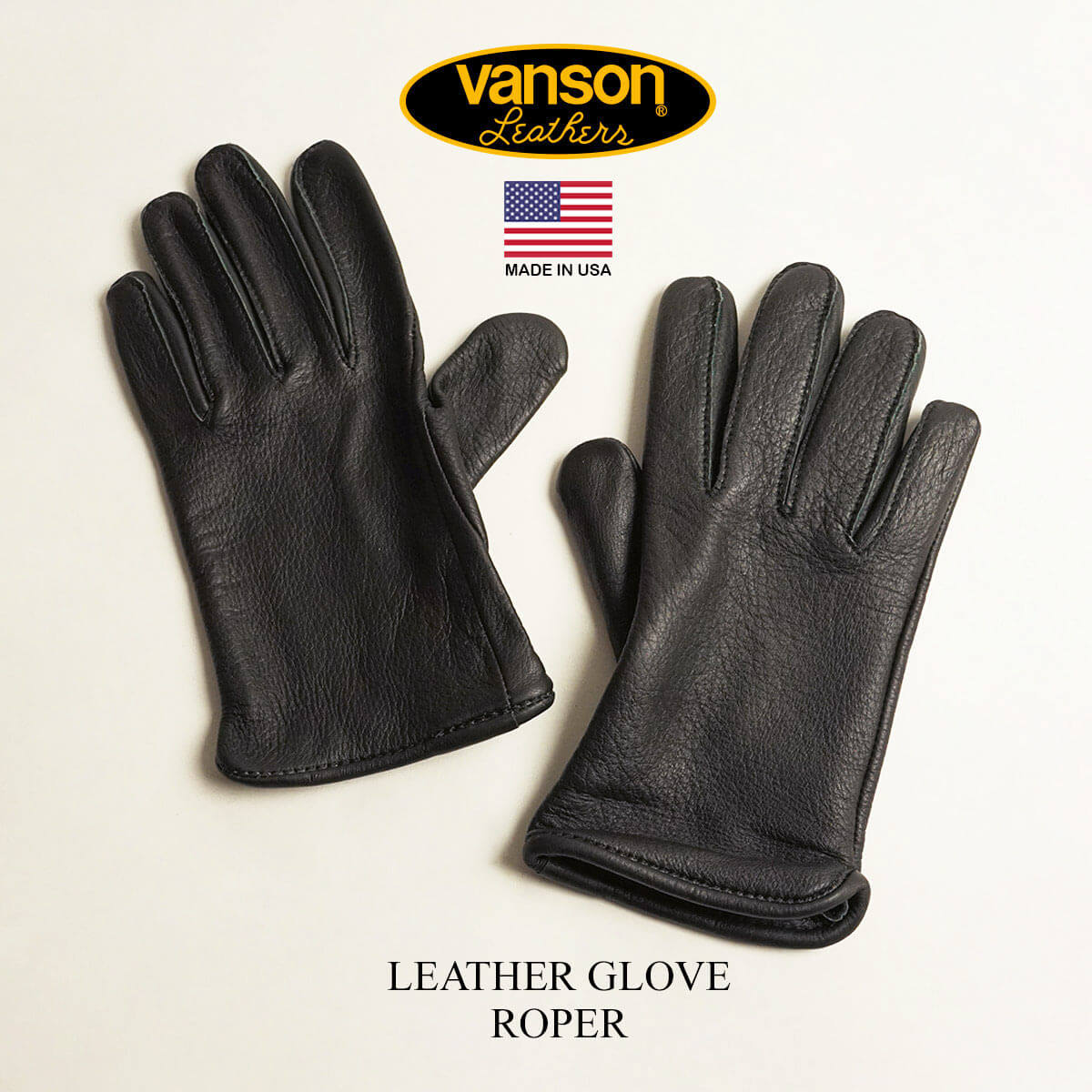 送料無料 メンズ バンソン VANSON レザーグローブ ローパー 受賞店 手袋 保障 USA MADE ブラック Roper IN