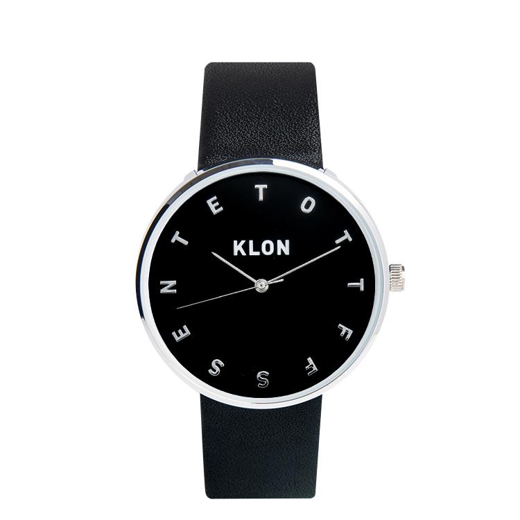 『ALPHABET TIME BLACK 【BLACK SURFACE】 Ver.SILVER』KLON クローン 腕時計 シンプル おしゃれ 個性的 かわいい ギフト 記念日 誕生日