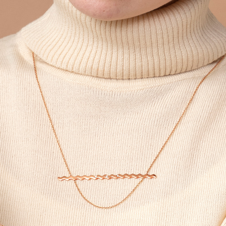 NUWL RIPPLE NECKLACE PINKGOLD