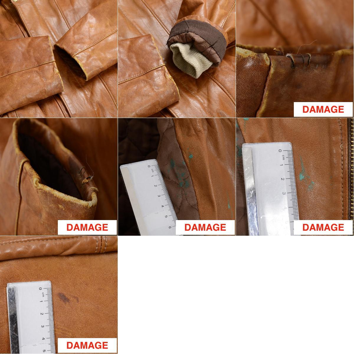 老式单自然舒适工艺皮革夹克 /ne8883