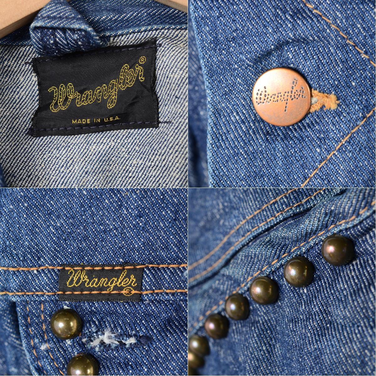 有70年代初期兰格勒服装USA制造钉的粗斜纹布茄克G约翰人S复古Wrangler/weg3660 150504