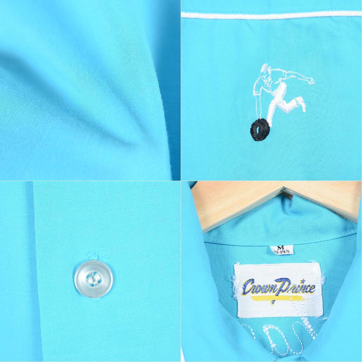 60年代CROWN PRINCE背链子刺绣人造丝保龄球衬衫人L复古/weh9558 150705