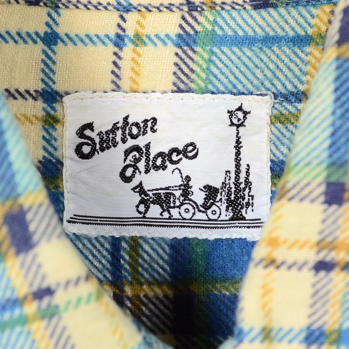 70 年代萨顿长套筒打印内尔衬衫男装 L 老式 /wek9770 151114