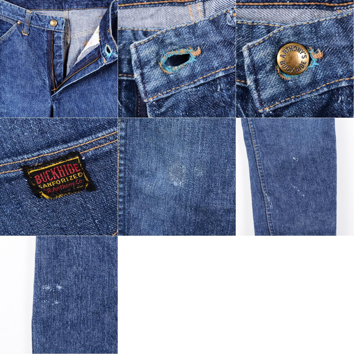 60年代BUCK HIDE牛仔裤笔直牛仔裤人w30复古C.R ANTHONY CO. /wen5812 160310
