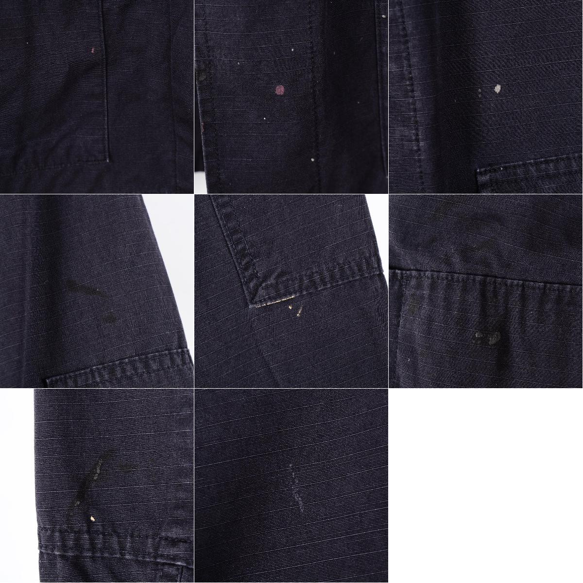 97年交货美军实际上的物品深蓝彩色COAT HOT WEATHER BLACK 357 B.D.U军事衬衫MEDIUM-LONG人L UNICOR GREENVILLE IL/wen6136 160306