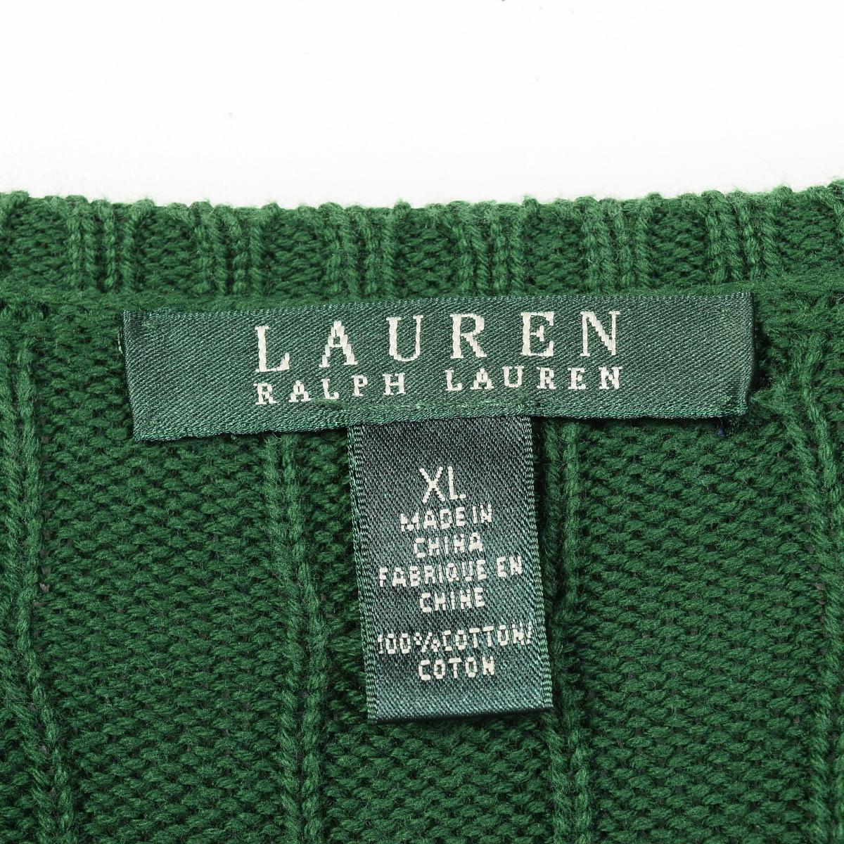 拉尔夫劳伦LAUREN洛伦电缆制造狭缝颈棉布编织物毛衣女士XL Ralph Lauren/wep8743 160413