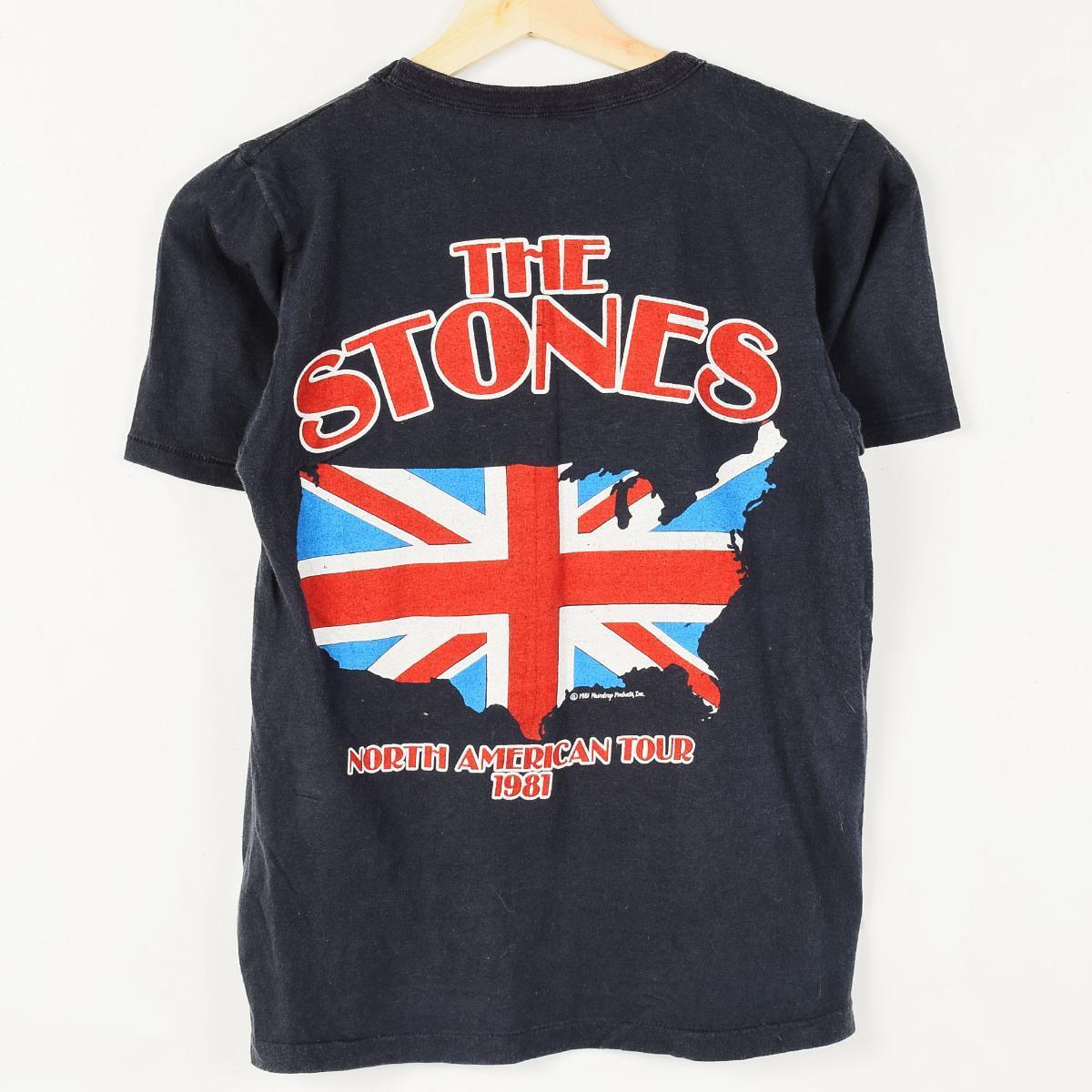 80年代THE ROLLING STONES zaroringusutonzu USA制造NORTH AMERICAN TOUR 1981带T恤人XS复古/wer4624 160601