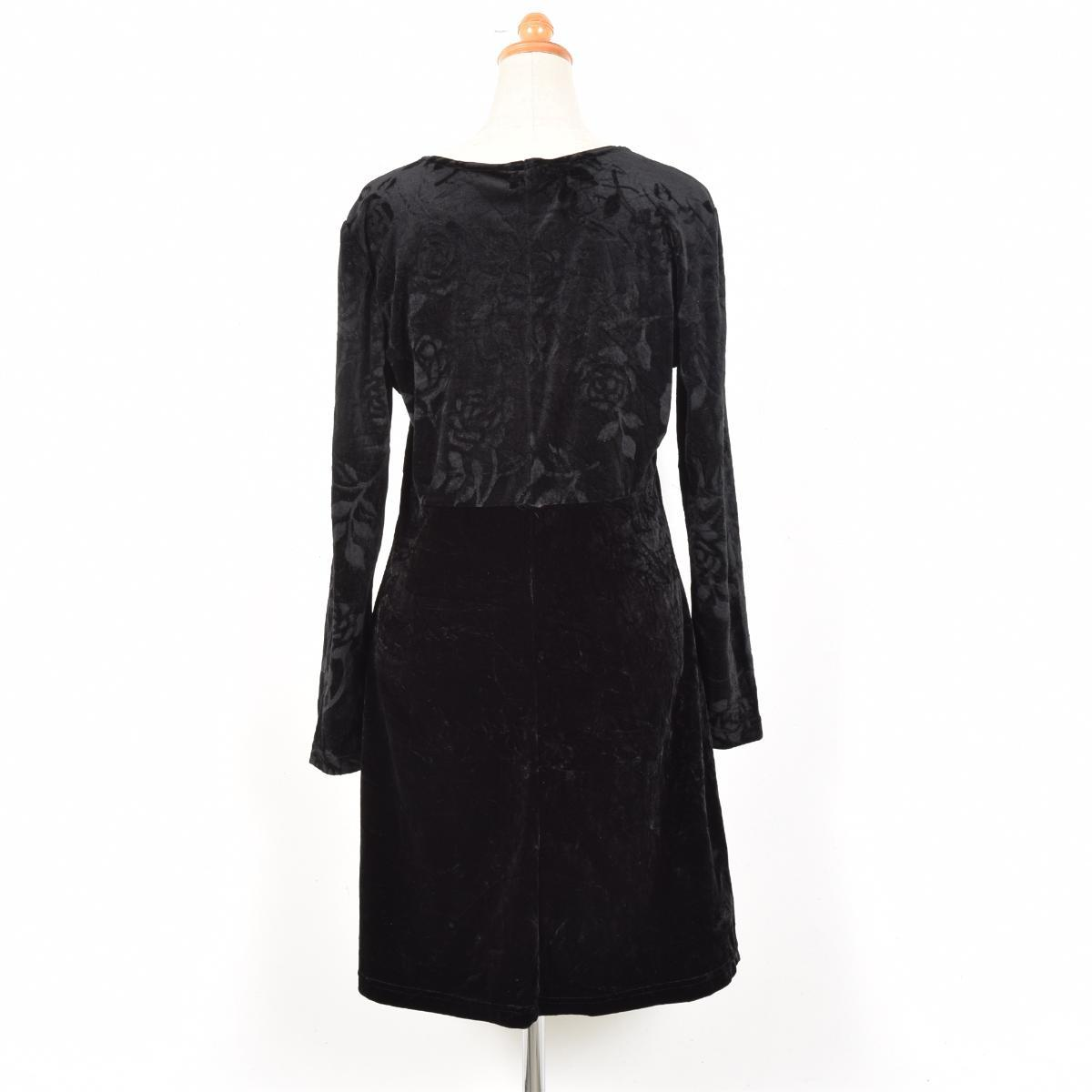 Made in USA velour floral switching long sleeve dress Womens L Earth Angel /weu8220