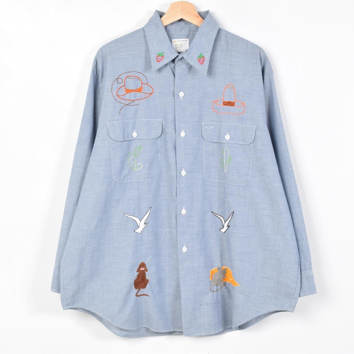 70 年代大 Mac 佩叮咬? 集长套筒纺衬衫男装 XL 老式巨无霸 /weu9366