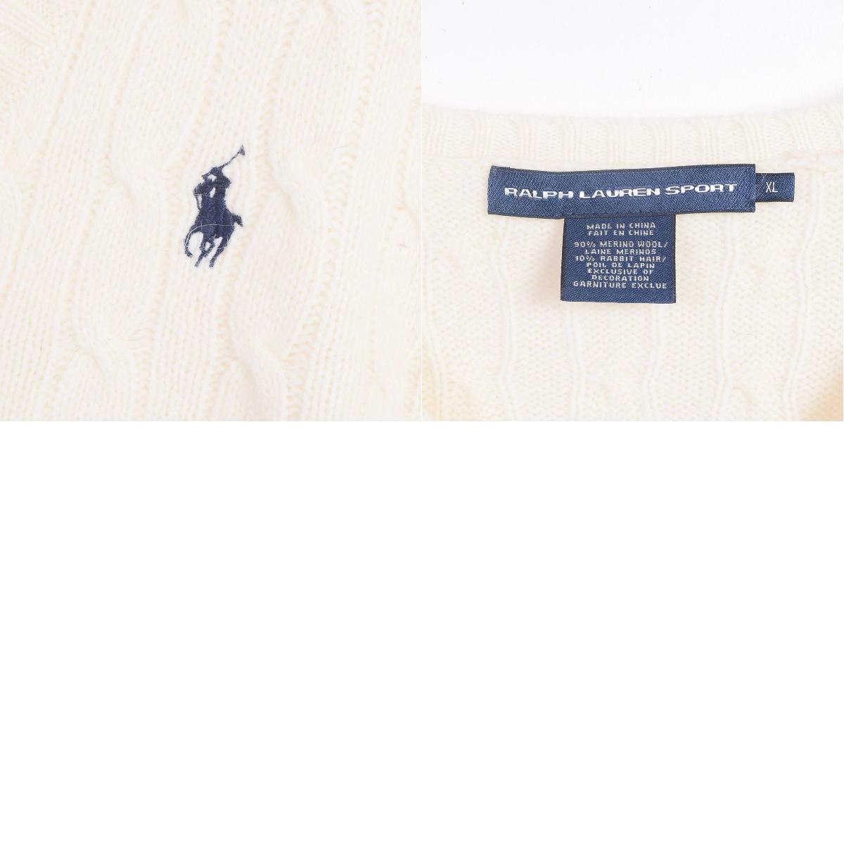 拉尔夫劳伦RALPH LAUREN SPORT V字领电缆制造Rabbit毛混合羊毛编织物毛衣女士L Ralph Lauren/wex9727
