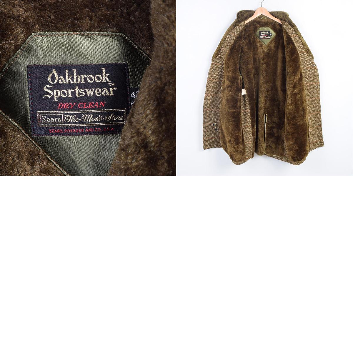 60-70年代Sears OAKBROOK SPORTSWEAR毛皮围巾班车长大衣42REG人L复古Sears/wex9848
