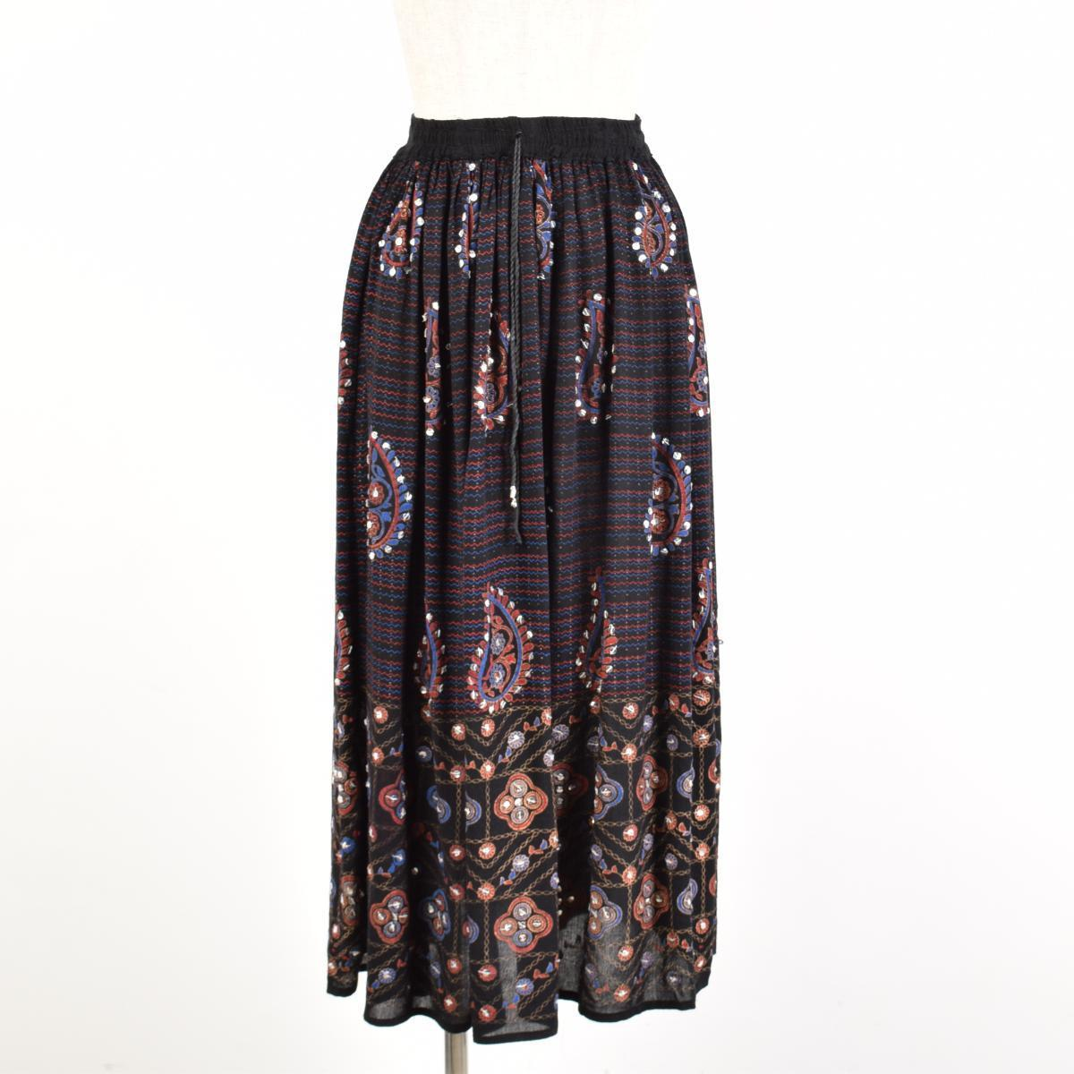 Long gathered skirt Lady's S~L BADAL /wab1995 with ethnic paisley spangles