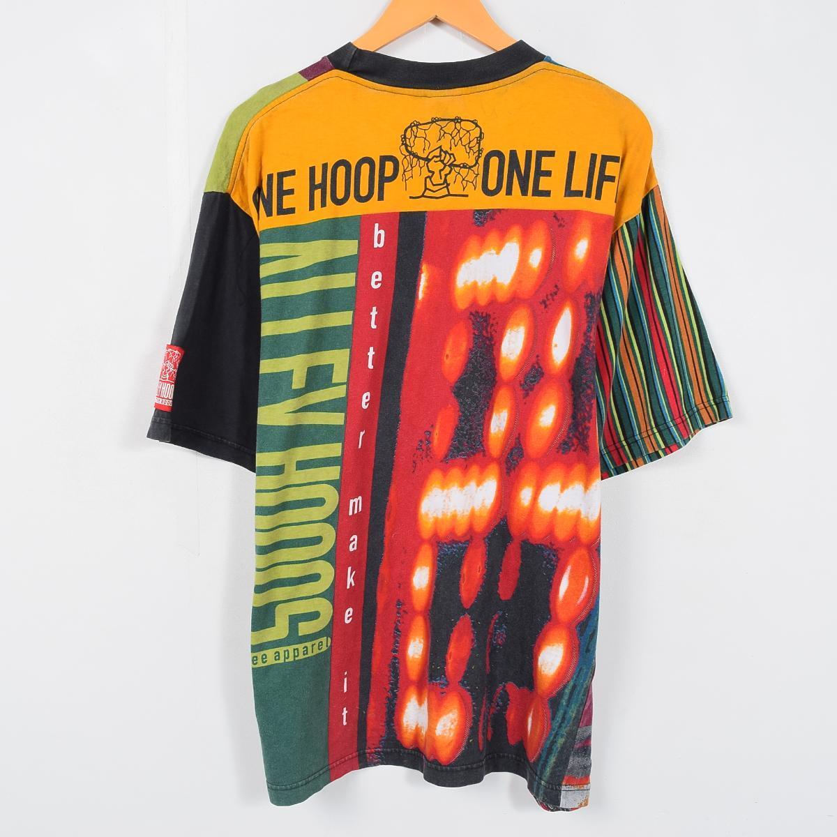 90年代耐克ONE LIFE TO HOOP总花纹印刷T恤人XL NIKE/waa3451