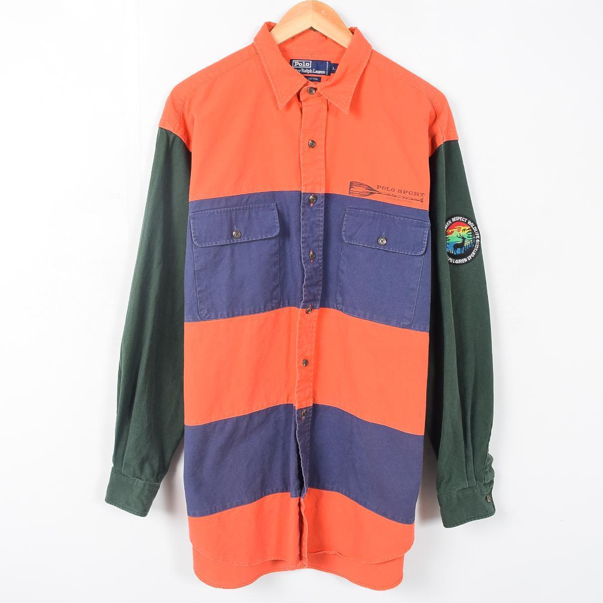 Long Sleeves Work Shirt Men XL Ralph Lauren Waa9570 In 90s Made