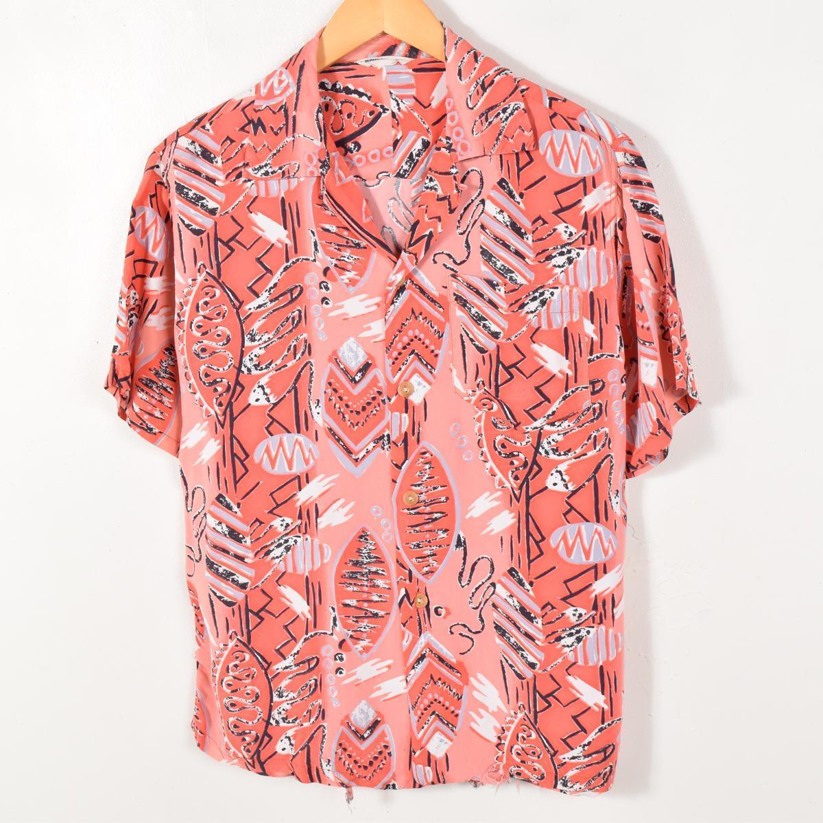 50年代 オープンカラー 総柄 レーヨン ハワイアンアロハシャツ メンズM UNKNOWN /waa9193 【中古】【n1705】 【170429】