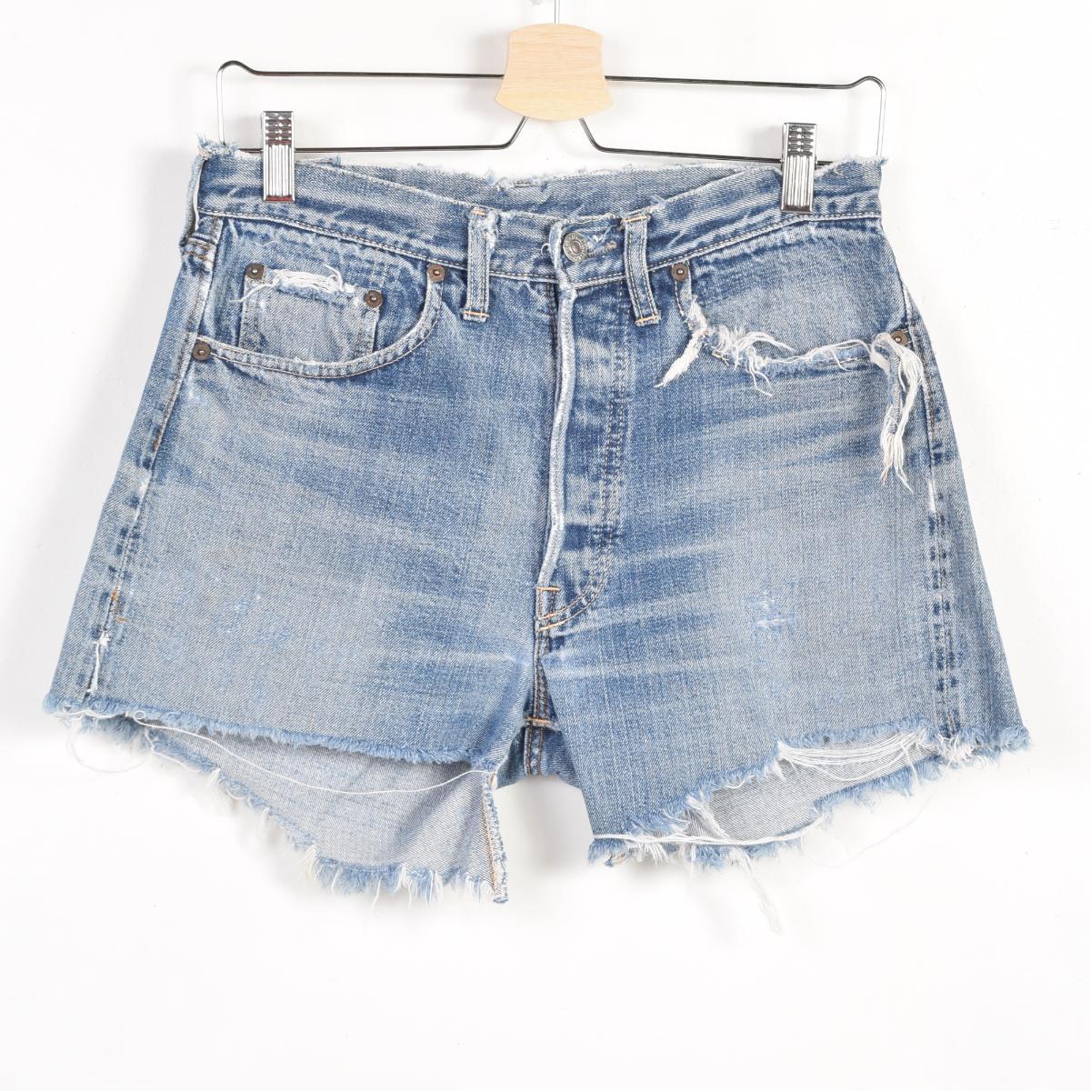 60s Levis 501 Big E BIG Cut Off Jeans Denim Underwear Men W31 Vintage Wad9233