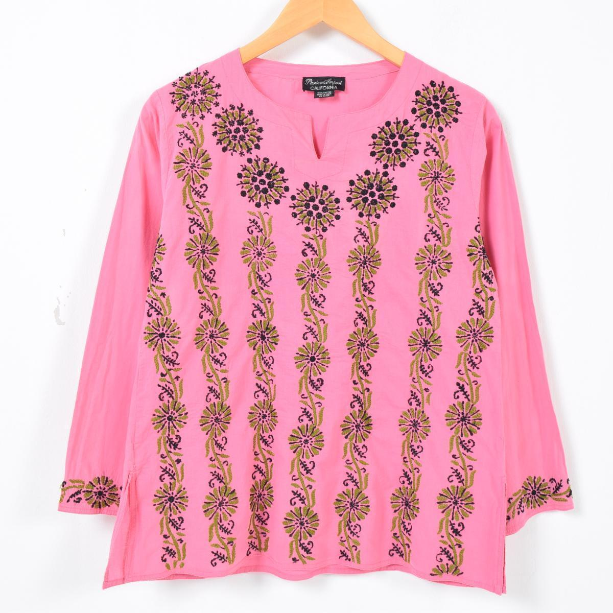 8d4a323e3c Passion Import CALIFORNIA slit neck floral design embroidery hand embroidery  long sleeves tunic Lady's L ...