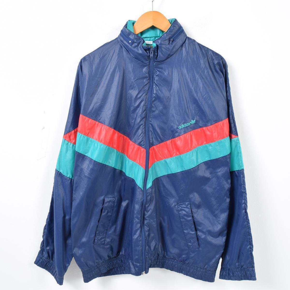 41810e92dffa 80s Adidas adidas food storing type nylon jacket men L vintage  waj6520
