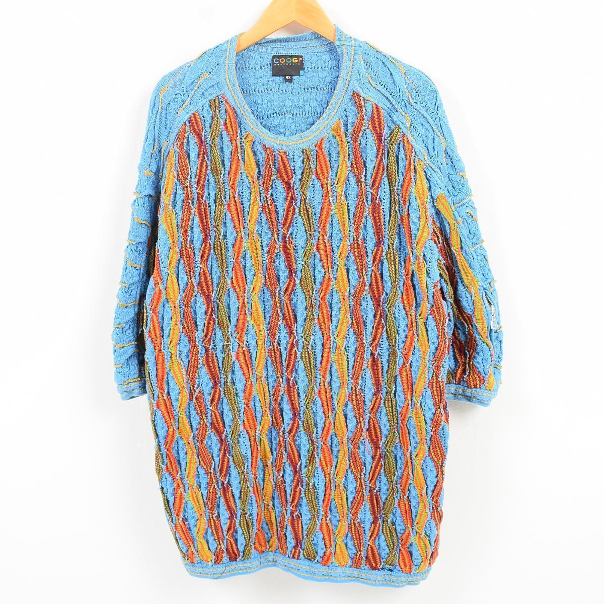 90年代 クージー COOGI 総柄 半袖 コットンニットセーター オーストラリア製 メンズ4XL /wak6101 【中古】 【171121】
