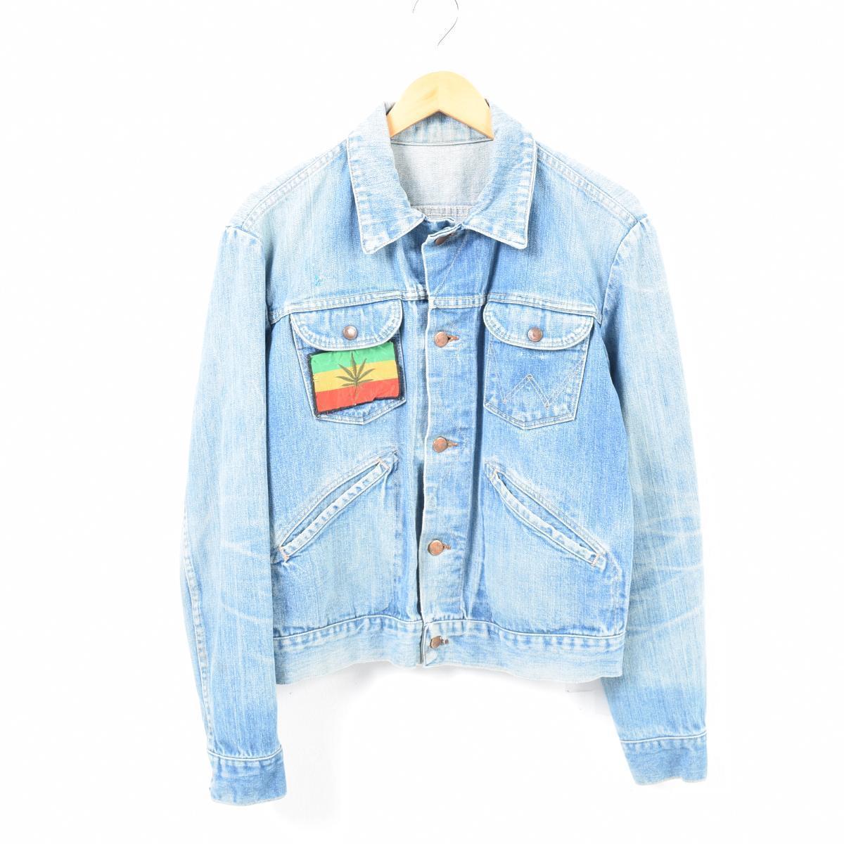 Wrangler Wrangler AC/DC ganjah raster color emblem custom denim jacket G  Jean men M vintage /wam4517