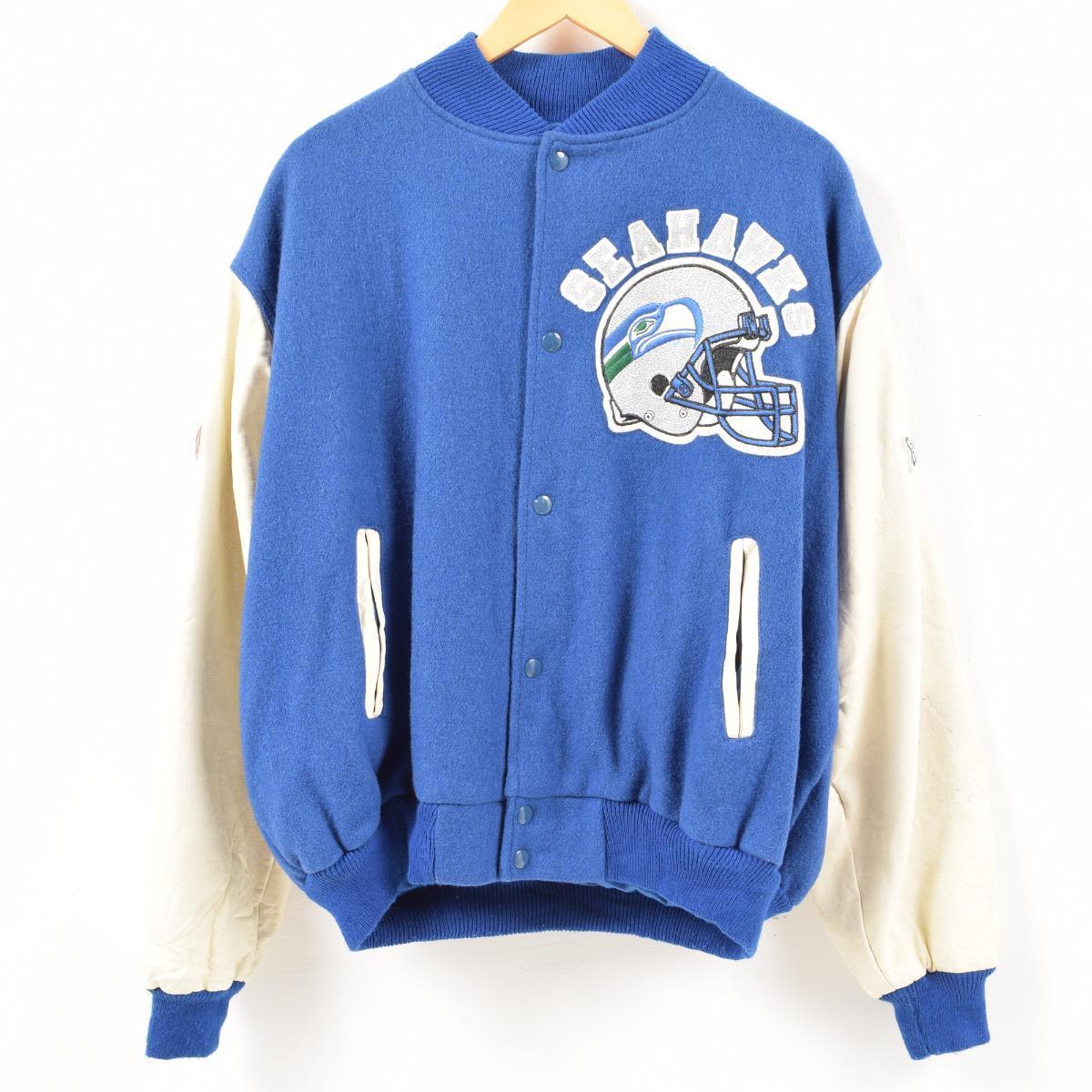 sports shoes 3ab67 335f9 90s chalk line CHALK LINE NFL SEATTLE SEAHAWKS Seattle Seahawks sleeve  leather wool award jacket Award jacket men XXXL /wan0784