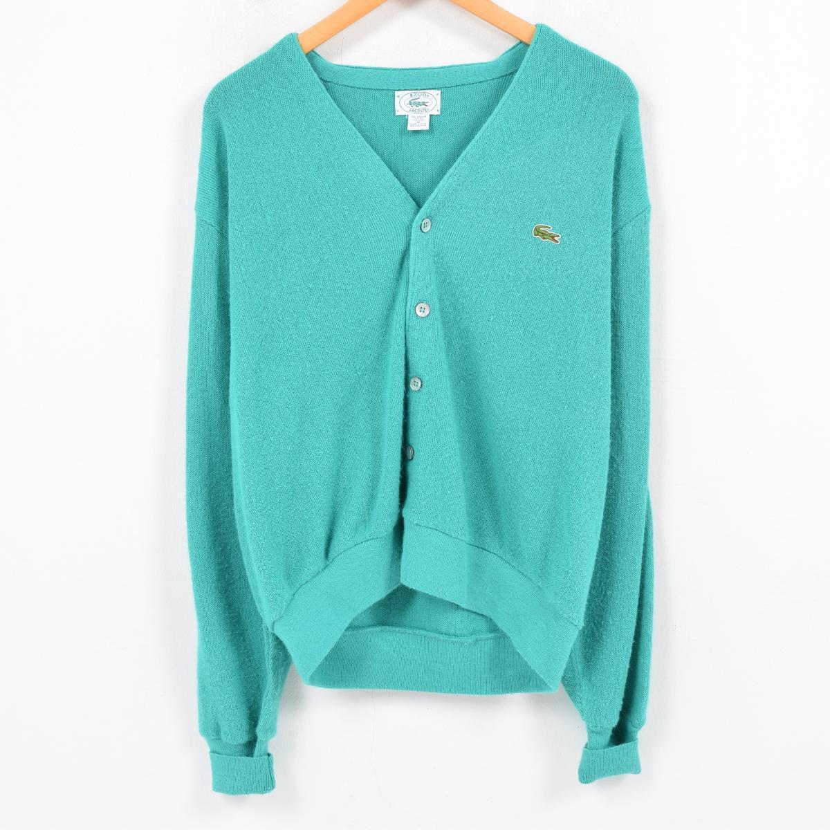 bb5ddd1fb Men L vintage  wao3616 in the 80s made in Lacoste LACOSTE IZOD acrylic knit  cardigan USA