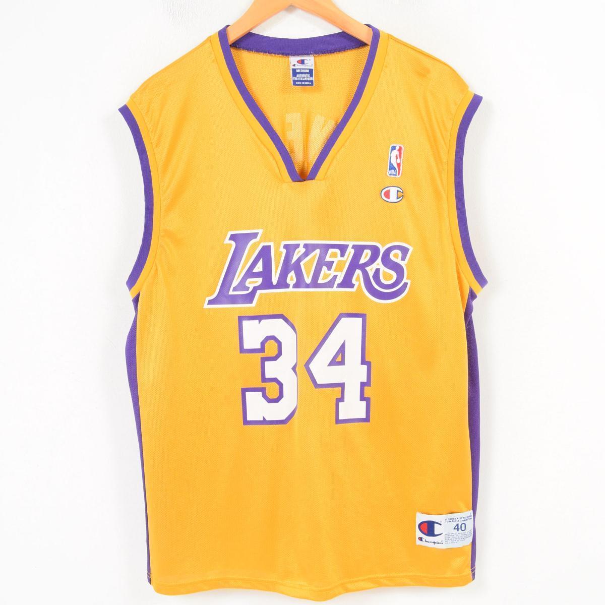 90年代 チャンピオン Champion NBA LOS ANGELES LAKERS ロサンゼルスレイカーズ Shaquille O'Neal シャキールオニール ゲームシャツ レプリカユニフォーム メンズM /wap1001 【中古】 【180401】