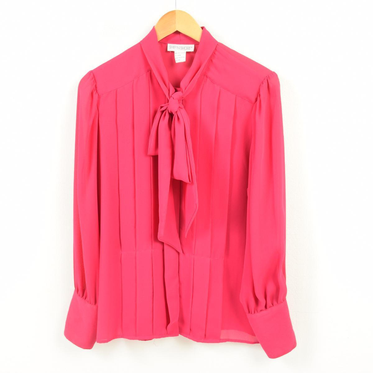 Vintage Clothing Jam Long Sleeves Bow Tie Blouse Lady S L Wan5546