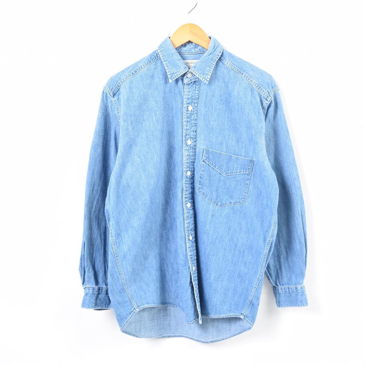 5c10d5c9ec 90s banana republic BANANA REPUBLIC back print long sleeves denim shirt men  M  war6515