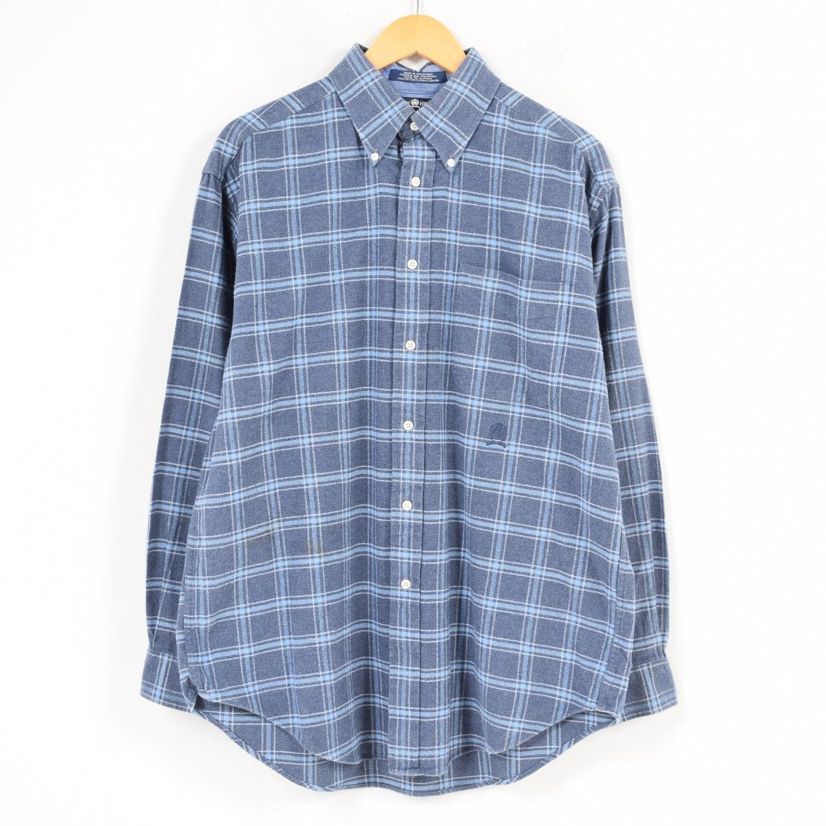 69c235a2 トミーヒルフィガー TOMMY HILFIGER tartan check long sleeves button-down collar heavy flannel  shirt men L /waq3572