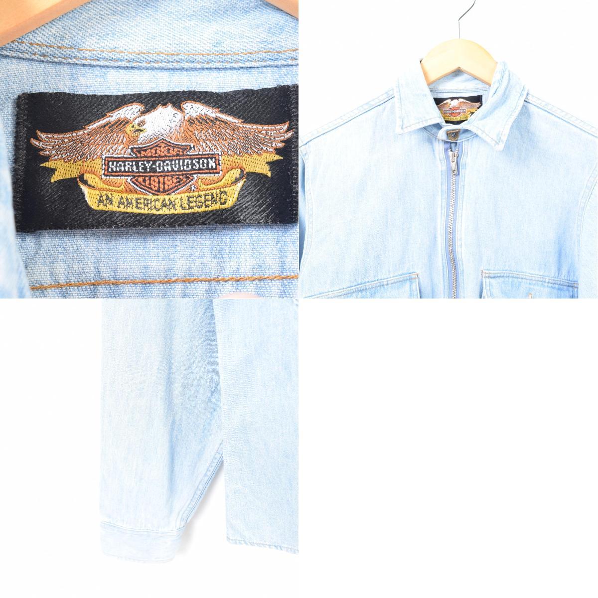 56fdf03a40 Harley-Davidson Harley-Davidson half zip pullover long sleeves denim shirt  men XS  war6064