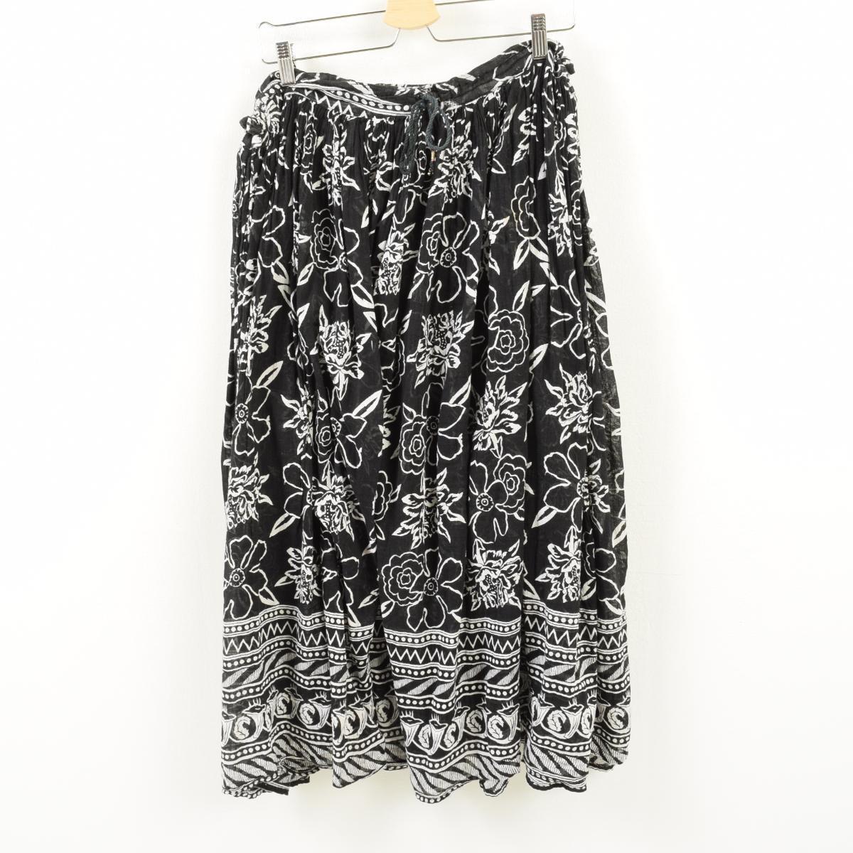SHORT CIRCUIT India raw cotton pattern cotton long gathered skirt  adjustable size /war1732
