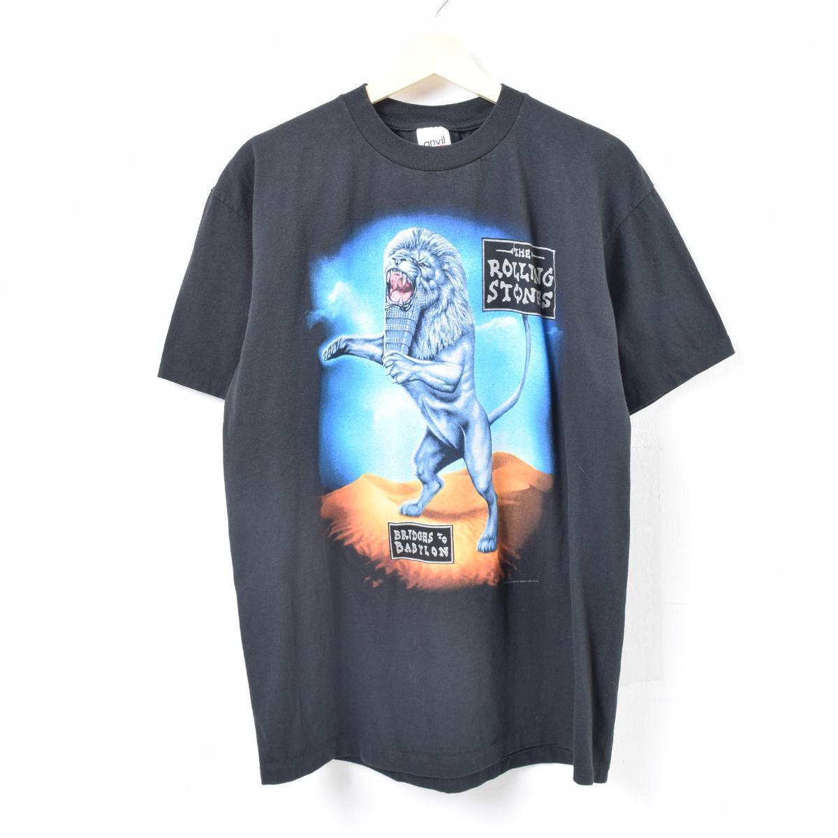 90年代 アンビル anvil THE ROLLING STONES ザローリングストーンズ BRIDGES TO BABYLON WORLD TOUR 1997/1998 バンドTシャツ USA製 メンズXL /was2939 【中古】 【180428】