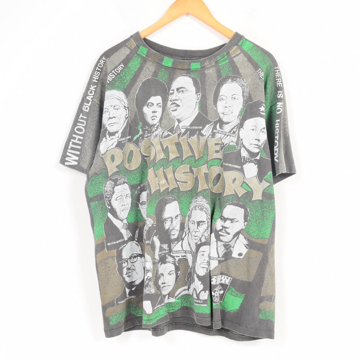 ~90年代 Kacy World Colors POSITIVE HISTORY 偉人Tシャツ USA製 メンズXL ヴィンテージ /war1281 【中古】 【180504】【VTG】【SVTG】