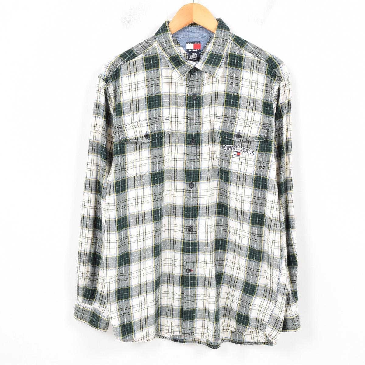 6eccfdf0 90s トミーヒルフィガー TOMMY HILFIGER checked pattern long sleeves light flannel  shirt men L /war9017 ...