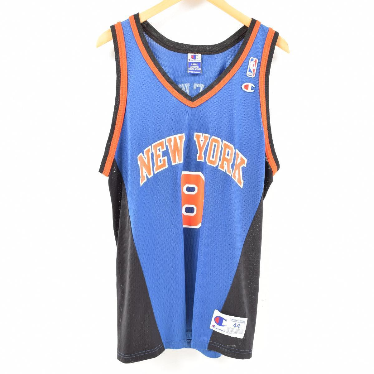 90s champion Champion NBA NEWYORK KNICKS New York Knicks LATRELL SPREWELL  game shirt replica uniform men L  wam9903 c8d0a527b