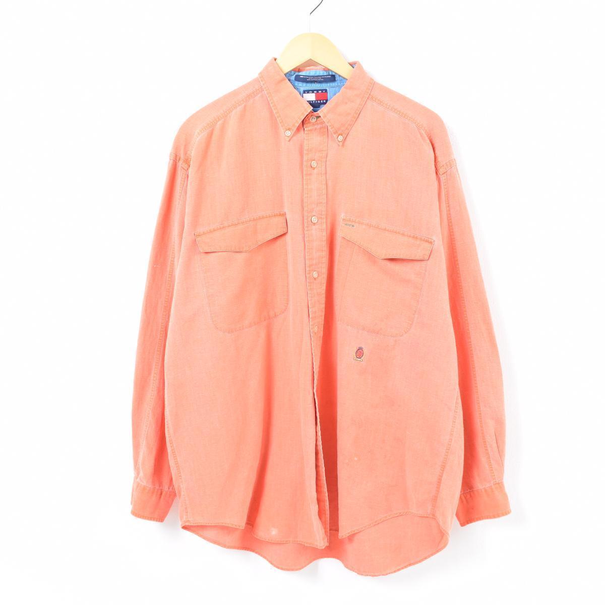 289c1d90c4cf 90s トミーヒルフィガー TOMMY HILFIGER long sleeves linen X cotton button-down shirt  men XL  was2232