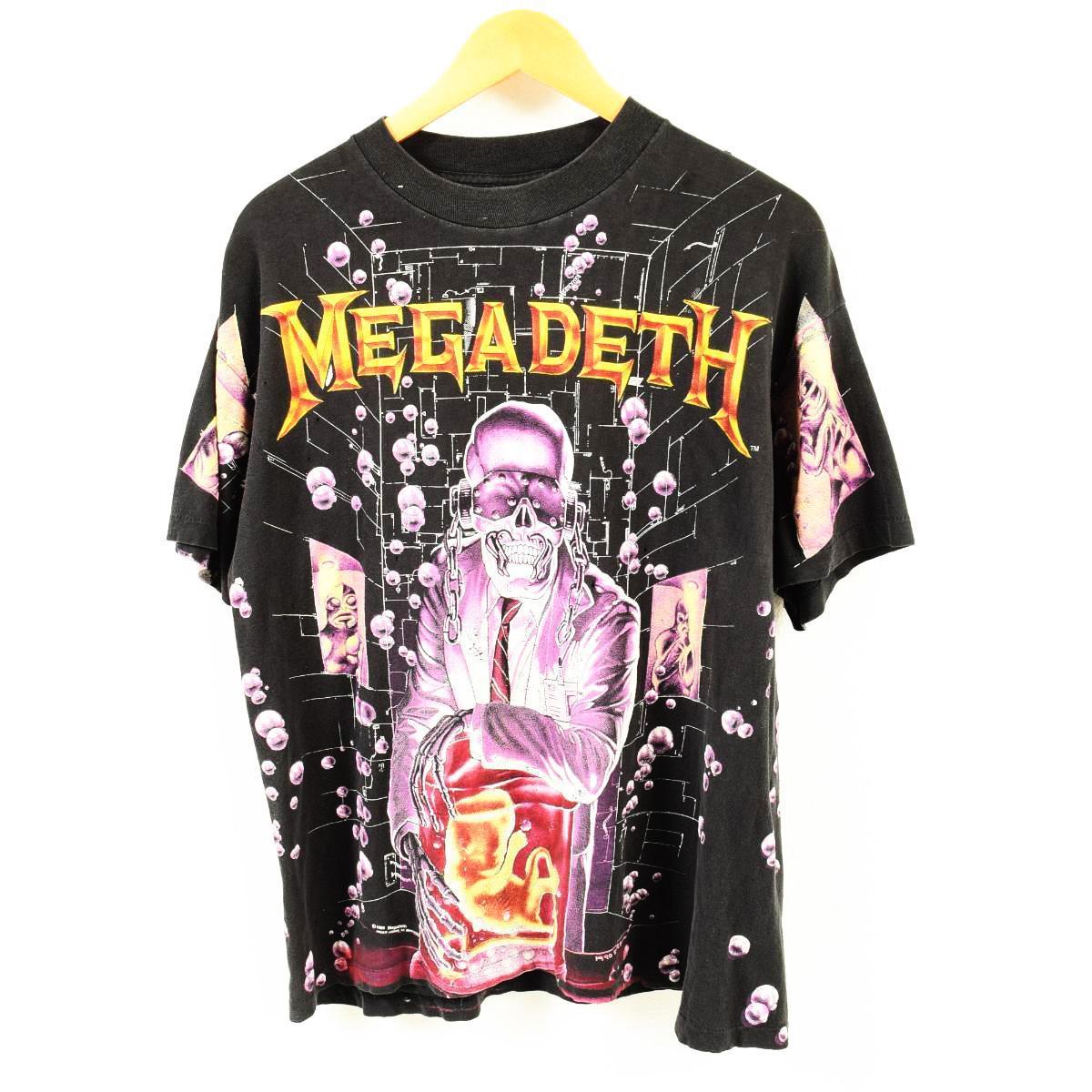 激レア 90年代 BROCKUM MEGADETH メガデス 両面プリント バンドTシャツ USA製 メンズL /waq1705 【中古】 【180520】