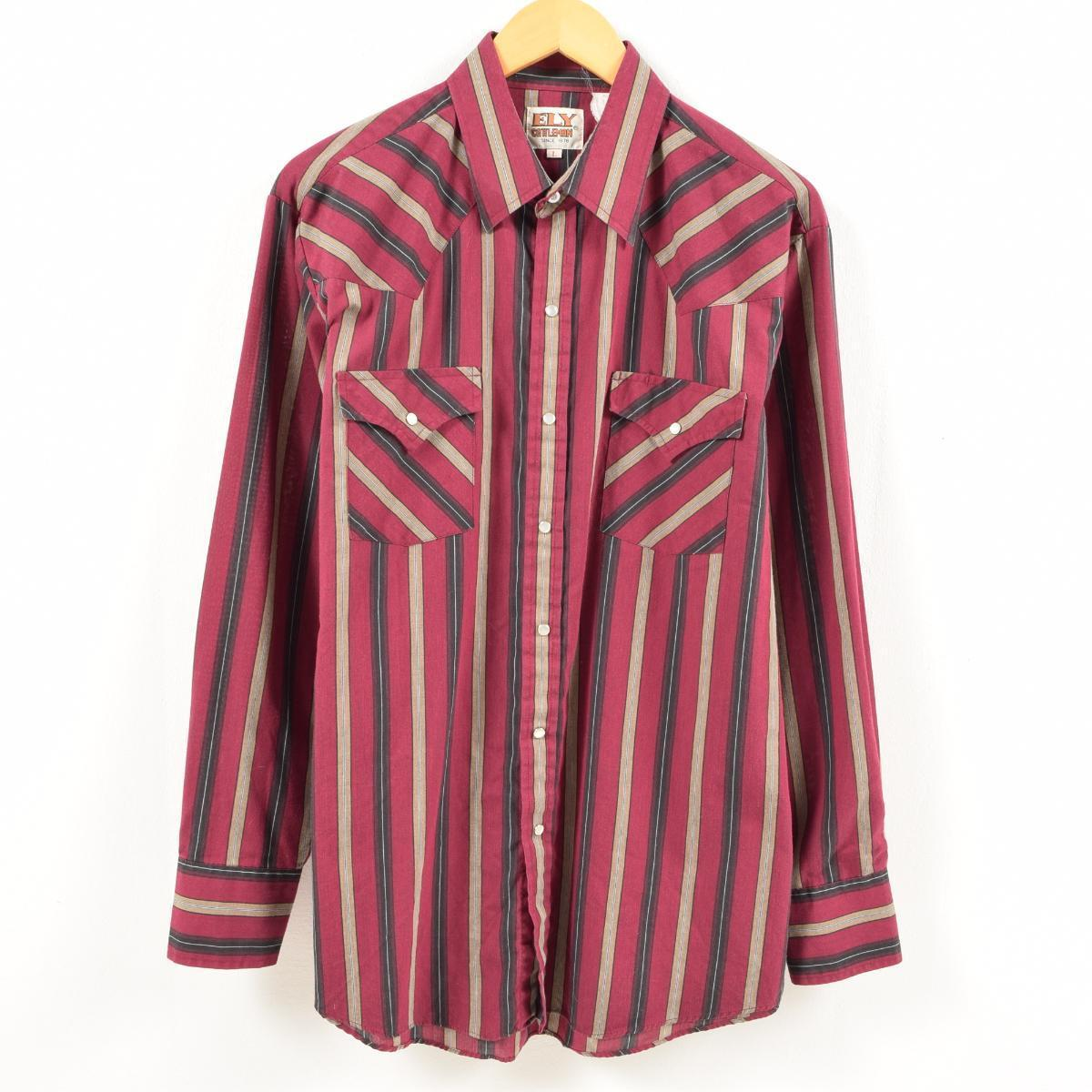 03661c27 70s Elly ELY CATILEMAN stripe bottle tit sleeve western shirt men L vintage  /wam9381 ...