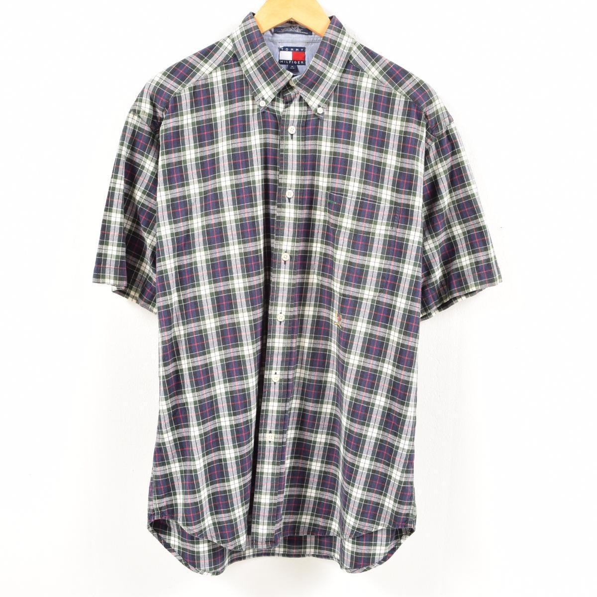 811b0362 90s トミーヒルフィガー TOMMY HILFIGER tartan check short sleeves check shirt men XL  /was7390 who are button-downed