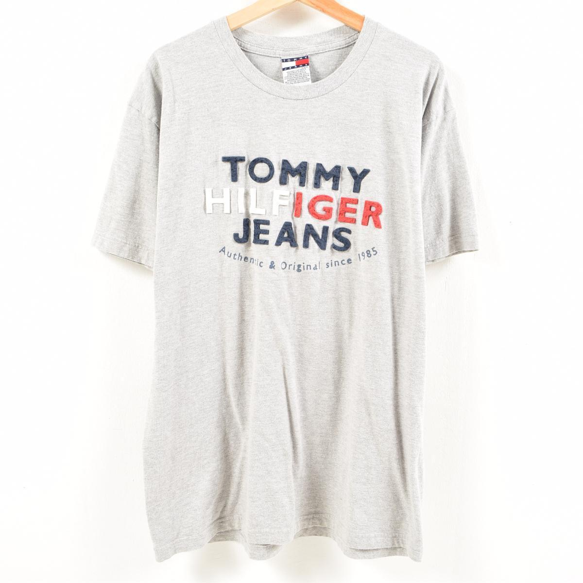 39dacb099 90s トミーヒルフィガー TOMMY HILFIGER JEANS logo T-shirt men XL /was7380 ...