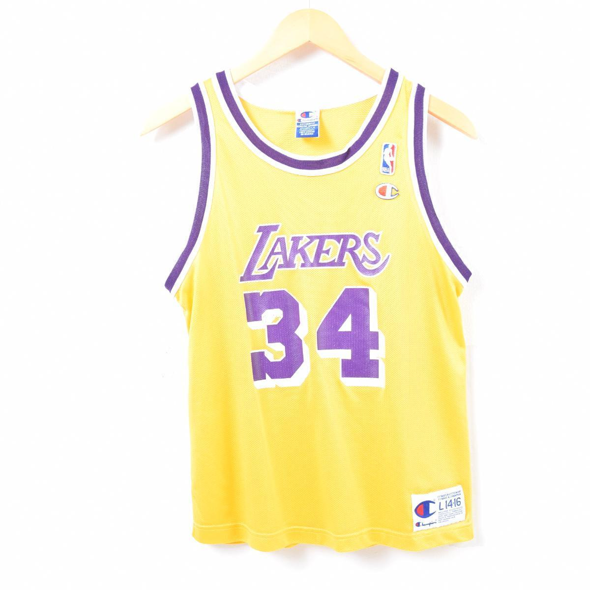 90s champion Champion NBA LOS ANGELES LAKERS Los Angeles Lakers Shaquille  O Neal Shaquille O Neal game shirt replica uniform men S  waq7203 21454892c