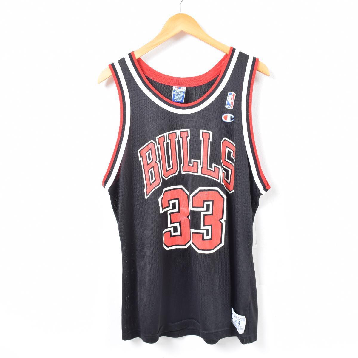 90年代 チャンピオン Champion NBA CHICAGO BULLS シカゴブルズ Scottie Pippen スコッティピッペン ゲームシャツ レプリカユニフォーム メンズXL /waq7237 【中古】【古着屋JAM】 【180622】