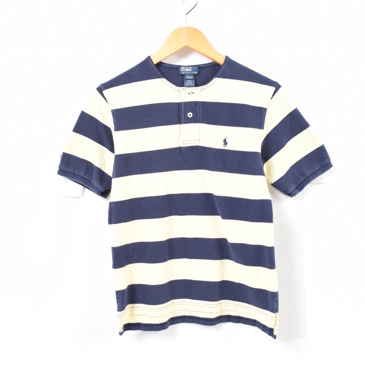 d535afccae JAM remake Ralph Lauren Ralph Lauren POLO by Ralph Lauren no-collar  short-sleeved horizontal stripe henley neck polo shirt Lady s S  waq5769
