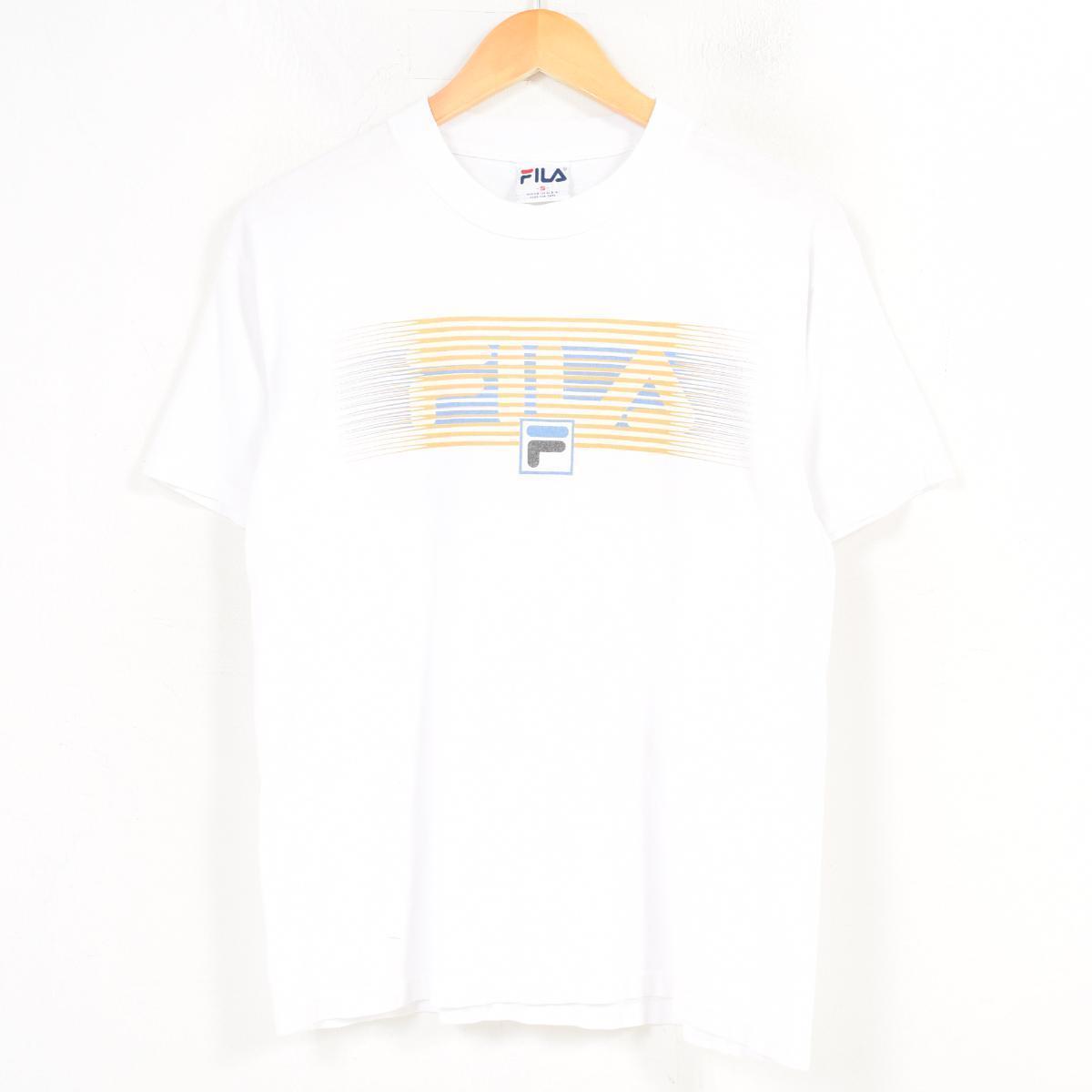 12244d25 Men S /wat8930 in the 90s made in Fila FILA decalogo big logo logo T-shirt  USA