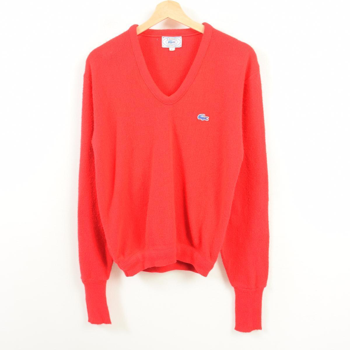 7d87aa715d32bb 70-80 generation Lacoste LACOSTE IZOD V neck acrylic knit sweater men M  vintage  wav4531