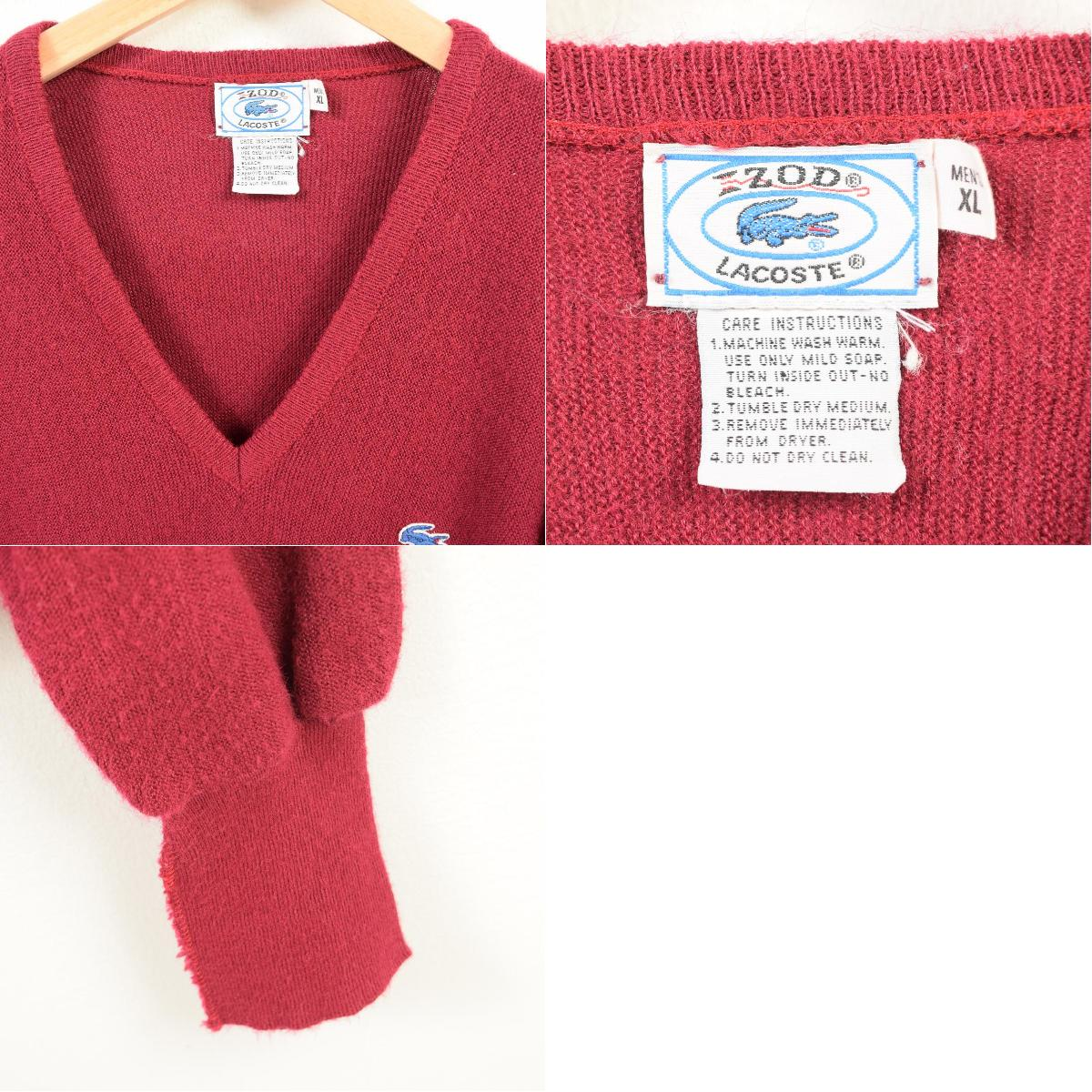 542172b4 70-80 generation Lacoste LACOSTE IZOD V neck acrylic knit sweater men XL  vintage /wav4534